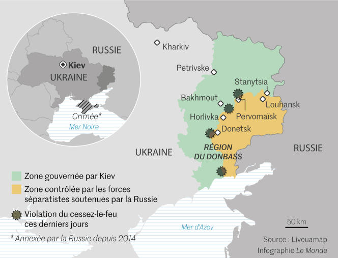Affrontements dans la région du Donbass.