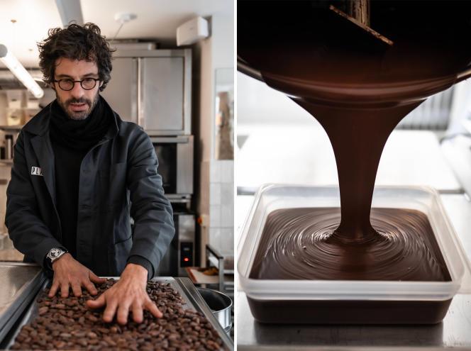 Nicolas Rozier-Chabert, cofondateur de Plaq, dans les locaux de la manufacture, lors de la confection des plaques de chocolat.
