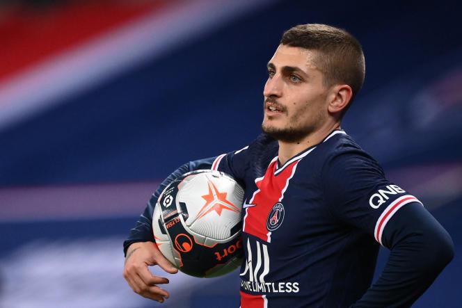 Le milieu de terrain Marco Verratti lors du match de Ligue 1 opposant le Paris-Saint-Germain à l'AS Monaco, au Parc des Princes, à Paris, le 21 février 2021.