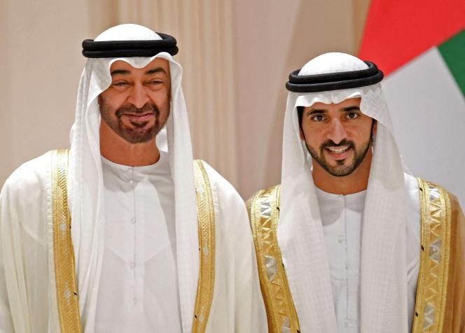 Mohammed Ben Zayed, homme fort des Emirats arabes unis (à gauche) etHamdane Ben Mohammed Al-Maktoum, le prince héritier de Dubaï.Cette photo a été fournie par le ministère des affaires présidentielles des Emirats arabes unis le 6 juin 2019.