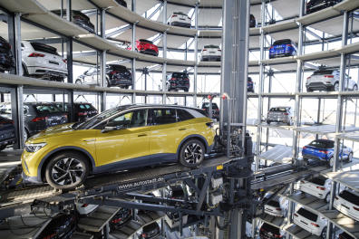 26 March 2021, Lower Saxony, Wolfsburg: A Volkswagen ID.4 stands in a car tower at Autostadt. Volkswagen began deliveries of the all-electric SUV on March 26, 2021. Photo by: Ole Spata/picture-alliance/dpa/AP Images