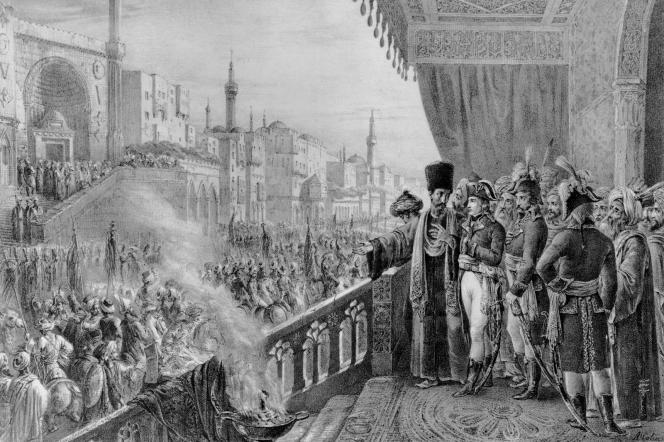 Célébration de la fête du Prophète Mahomet, le 23 août 1798. Gravure par Charles Etienne Pierre Motte.