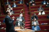 Le premier ministre, Jean Castex, le 1er avril 2021, s'exprime devant l'Assemblée nationale.