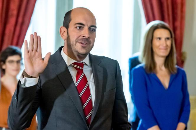 Le secrétaire d'Etat fédéral belgeà la digitalisation, Mathieu Michel, fils de l'ex-commissaire européen Louis Michel, en octobre 2020 à Bruxelles.