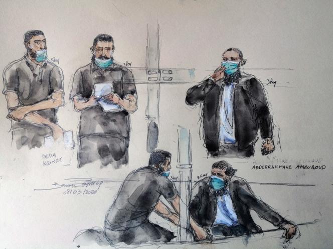 Dans ce croquis d'audience réalisé le 8mars2021 figurent les accusés Reda Kriket et Abderrahmane Ameuroud, lors de leur procès, avec cinq autres personnes.