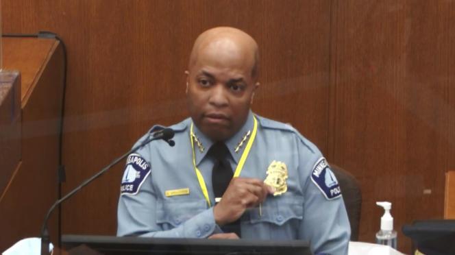 Le chef de la police de Minneapolis, Medaria Arradondo, lors de son témoignage, le 5 avril à Minneapolis (Minnesota).