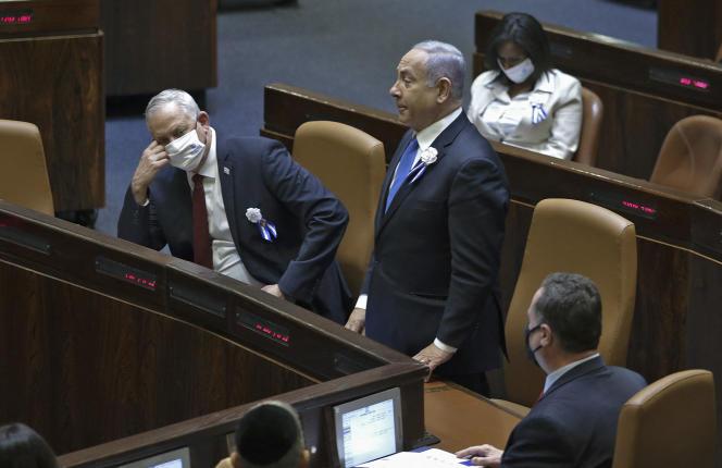 Le premier ministre israélien, Benyamin Nétanyahou, durant la cérémonie de prestation de serment à la Knesset, le 6 avril à Jérusalem.
