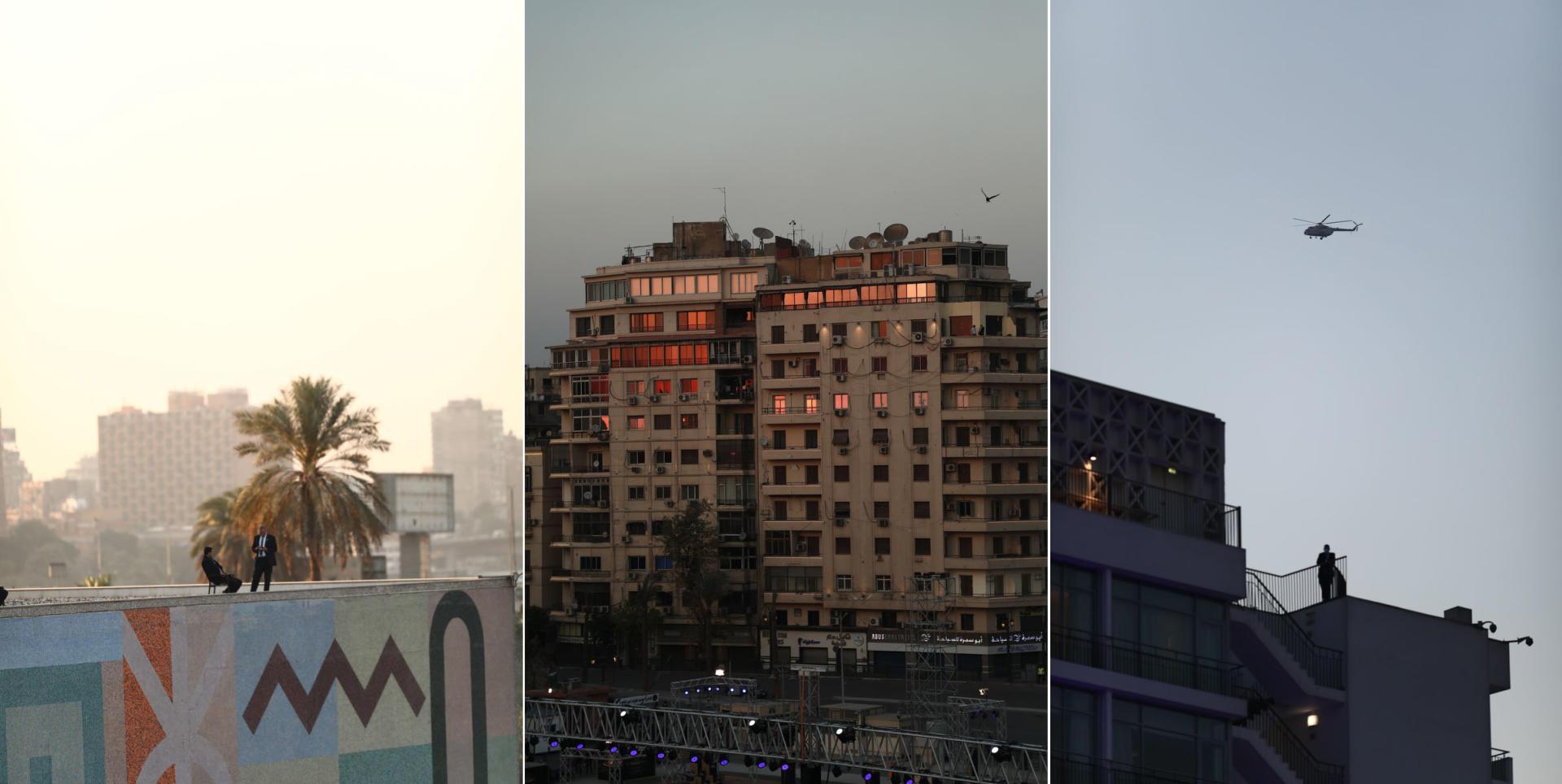 La sécurité est renforcée dans le centre du Caire, notamment sur le toit de l'hôtel Ritz-Carlton qui surplombe la place Tahrir, au Caire, 3 avril 2021.