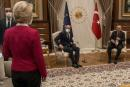 """This video frame grab taken from footage released by The Turkish Presidency on April 6, 2021, shows Turkish President Recep Tayyip Erdogan (R) receiving EU Council President Charles Michel (C) and President of EU Commission Ursula von der Leyen (L) at the Presidential Complex in Ankara. The European Commission hit out April 7, 2021, at a diplomatic snub that left its head Ursula von der Leyen without a chair as male counterparts sat down at a meeting with Turkish President Recep Tayyip Erdogan. Video from the April 6, 2021, encounter in Ankara showed von der Leyen flummoxed as the Turkish leader and European Council president Charles Michel took the only two chairs in front of their flags. - RESTRICTED TO EDITORIAL USE - MANDATORY CREDIT """"AFP PHOTO /TURKISH PRESIDENTIAL PRESS SERVICE """" - NO MARKETING - NO ADVERTISING CAMPAIGNS - DISTRIBUTED AS A SERVICE TO CLIENTS / AFP / TURKISH PRESIDENTIAL PRESS SERVICE / - / RESTRICTED TO EDITORIAL USE - MANDATORY CREDIT """"AFP PHOTO /TURKISH PRESIDENTIAL PRESS SERVICE """" - NO MARKETING - NO ADVERTISING CAMPAIGNS - DISTRIBUTED AS A SERVICE TO CLIENTS"""