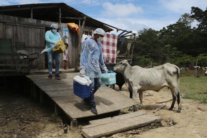 Des soignants quittent le domicile d'une personne ayant refusé le vaccin contre le Covid-19, dans l'Etat de l'Amazonas, au Brésil, le 12 février.