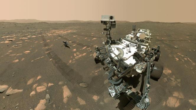 Le rover Perseverance de la NASA, et son drone Ingenuity, le 6 avril sur Mars.