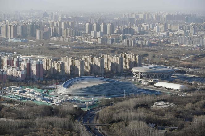 Vue de l'enceinte qui accueillera les épreuves de patinage de vitesse lors des Jeux olympiques d'hiver de 2022, qui se dérouleront à Pékin, en Chine.