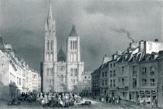 Lithographie du XIXe siècle représentant la basilique de Saint-Denis.