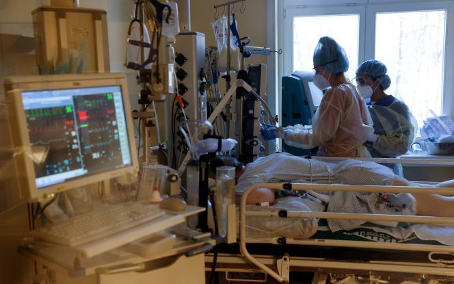 Dans le service de soins intensifs de l'hôpitalHavelhöhe à Berlin, le 9 avril 2021.