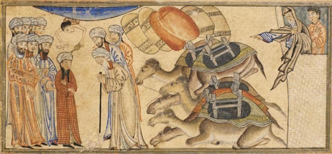 Le jeune Mahomet et le moine Bahira,miniature illustrant le Jami'al-Tawarikh de Rashid al-Din, Perse, 1307,Bibliothèque de l'Université d'Edimbourg, Ecosse.