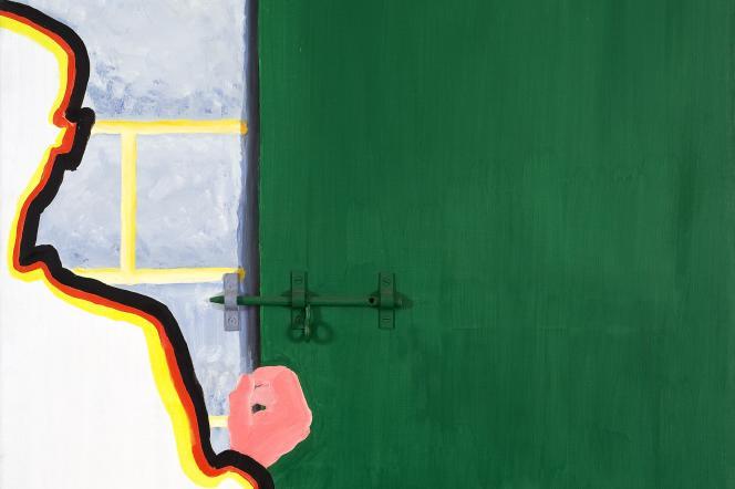 «Homme devant la porte avec verrou»(1969), de Roger Raveel.