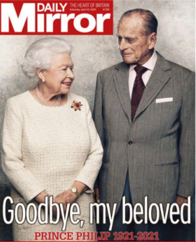 La « une» du «Daily Mirror» après la mort du prince Philip.