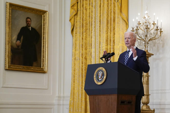 Conférence de presse du président Joe Biden à la Maison Blanche, à Washington, DC, le 25 mars 2021.