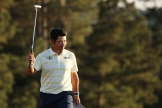 Hideki Matsuyama célèbre son 18e green, dimanche 11 avril.