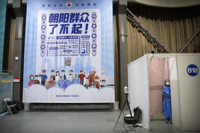 Dans un centre de vaccination à Pékin, le 23 mars.