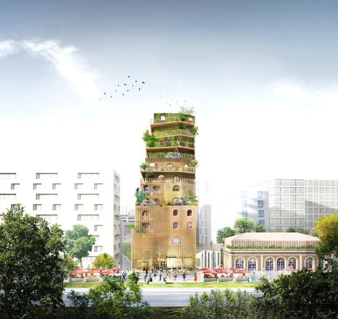 Une tour écologique est au cœur du projet«Ré-alimenter Massena», sur lequel travaille Lina Ghotmeh, dans le 13e arrondissement de Paris.