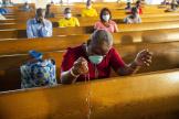Lors d'une messe à la cathédrale de Port-au-Prince (Haïti), en juillet 2020.