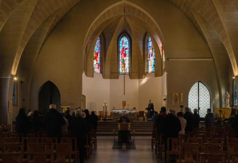 Malo-les-Bains, le 7 avril 2021. Eglise Notre-Dame-du-Sacrè-Coeur. Pendant la messe d'enterrement.