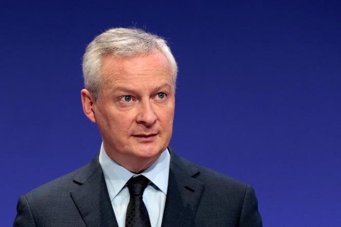 Bruno Le Maire, le ministre de l'économie, lors d'une conférence de presse, à Bercy, le 8 avril 2021.