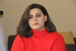 Narmin Shahmarzade,militante féministe azerbaïdjanaise de 22ans, elle-même victime de cyberharcèlement,en 2021.