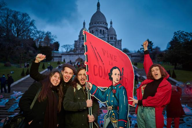 La figure de Louise Michel, réalisée par Régis Léger (Dugudus) lors d'un happening à Paris. Avec l'aimable autorisation de son auteur.