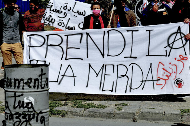 Manifestation à Sousse le 28 mars 2021 pour demander le retour en Italie de déchets ménagers exportés illégalement en Tunisie.