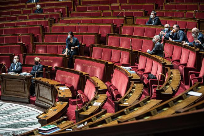 Déclaration du gouvernement a l'Assemblée nationale relative à l'organisation des élections departementales et régionales, le 13 avril.