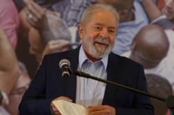 L'ancien présidentLuiz Inacio Lula da Silva a donné une conférence de presse à Sao Bernardo do Campo, le 10 mars.