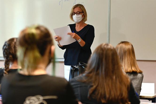Dans une classe du lycéeBréquigny à Rennes, le 1er septembre 2020.