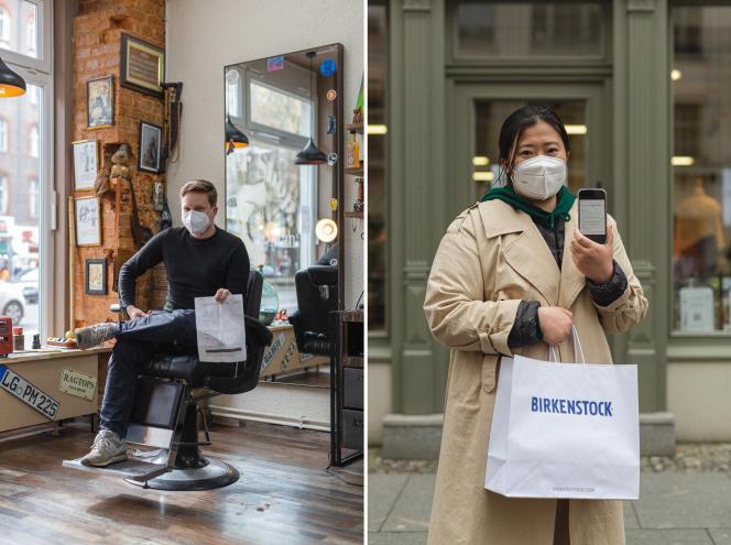 Nicolas von Passavant (à gauche), un chercheur en littérature baroque de 37 ans, a effectué un test antigénique rapide pour pouvoir se faire couper les cheveux, à Berlin, le 7 avril 2021. Seeun Go (à droite), étudiante sud-coréenne en musique, a, elle, effectué un test antigénique pour pouvoir faire du shopping.