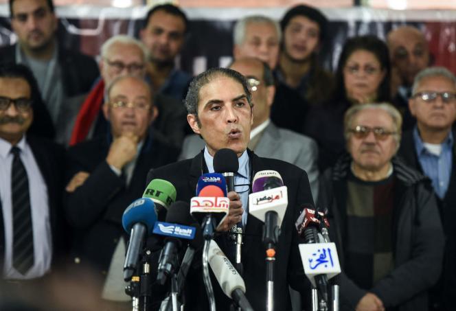 Le journaliste et opposant politique égyptien Khaled Daoud, remis en liberté mercredi 13 avril 2021 après un an et demi de détention, ici lors d'une conférence de presse en janvier 2018 au Caire.