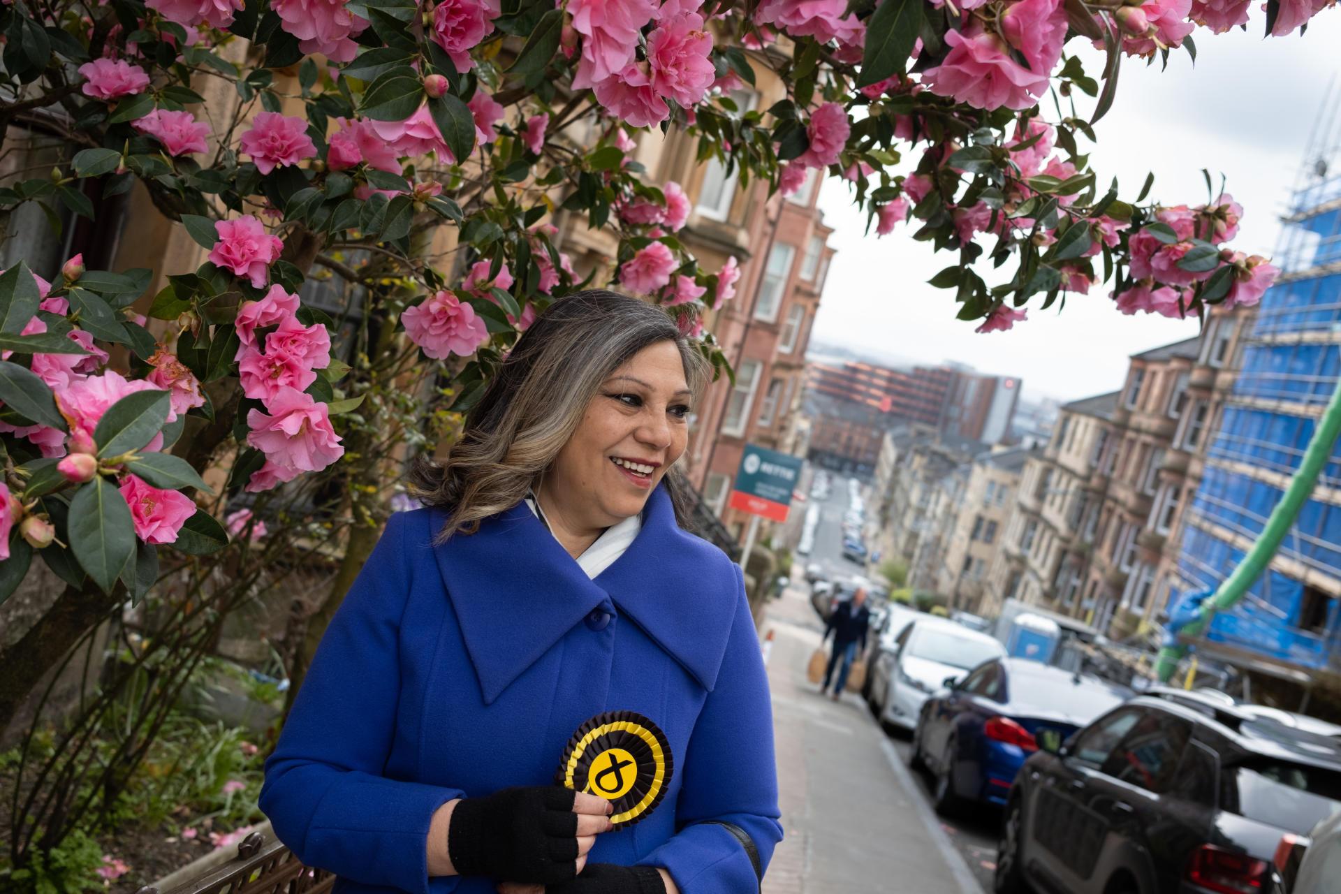 Kaukab Stewart, candidate du Scottish National Party (SNP), à Glasgow, le 13 avril.