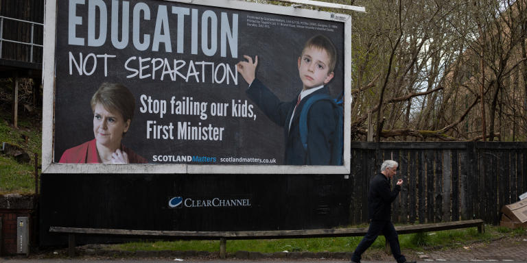 'Education not separation' -  A political billboard, by the Scotland Matters organisation, criticising the policies of First Minister Nicola Sturgeon, in Clarkston area of Glasgow, Scotland, on 13 April 2021.