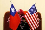 Drapeaux taïwanais et américain, à Taïwan, en 2018.