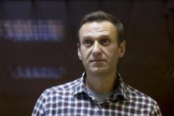L'opposant russe Alexeï Navalny, en grève de la faim depuis le 31 mars, lors d'une audience en appel à Moscou, le 20 février 2021.