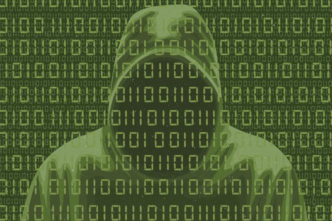 Montage figurant un pirate informatique derrière des lignes de code.