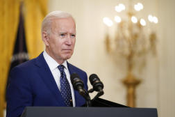 Le président américain, Joe Biden, lors d'une conférence de presse à la Maison Blanche, le 15 avril.