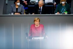 Angela Merkel, le 16 avril 2021, au Bundestag, à Berlin.