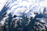 Image satellite du glacier Columbia, en Alaska.