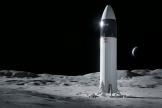 Représentation du prototype de vaisseau spatial Starship de SpaceX, choisi par la NASA pour sa prochaine mission avec équipage vers la Lune.