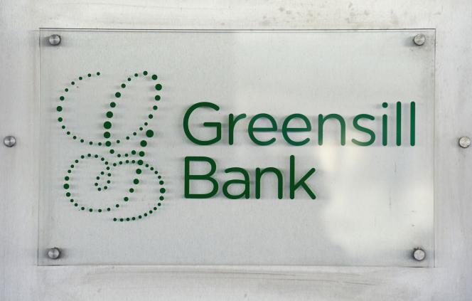 Le logo de la banque Greensill, dans le centre-ville de Brême, en Allemagne, le 3juillet 2019.
