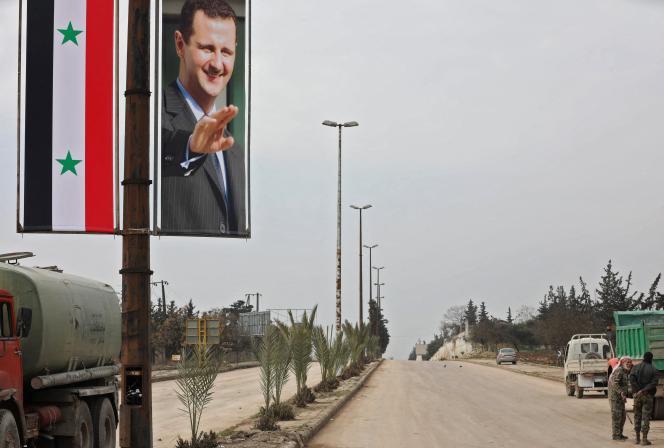 Un portrait deBachar Al-Assad dans une rue de Damas en Syrie, en février 2020.