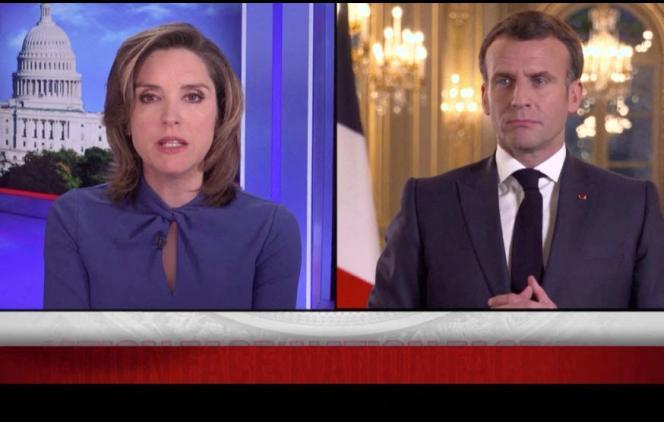 Capture d'écran fournie par la chaîne CBS, de l'entretien d'Emmanuel Macron par Margaret Brennan, dans l'émission«Face The Nation», diffusée sur CBS News, le 18 avril.