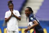 Marie-Antoinette Katoto après le deuxième but pour le PSG, marqué contre son camp par la Lyonnaise Wendie Renard.