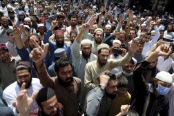 Des partisans du parti islamiste radical Tehrik-e-Labbaik Pakistan (TLP) àPeshawar, dans le nord du Pakistan, lundi 19avril 2021.